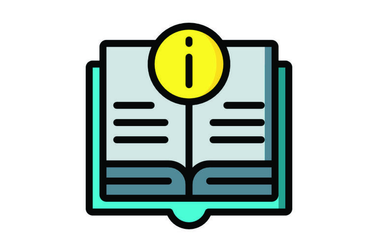 Information icon over an open bok
