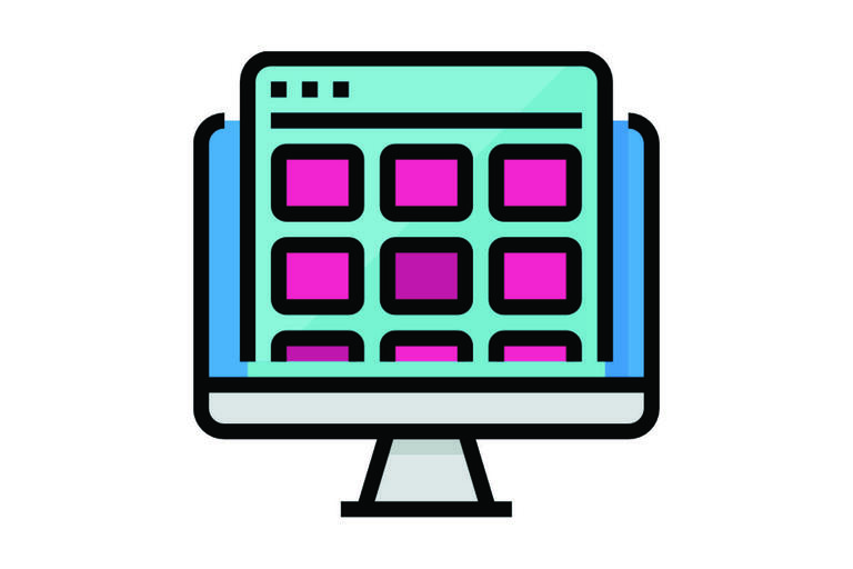 Icon of a computer screen with many small boxes