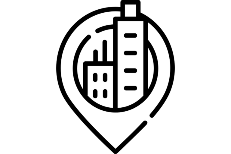 Location pin icon with two buildings inside it