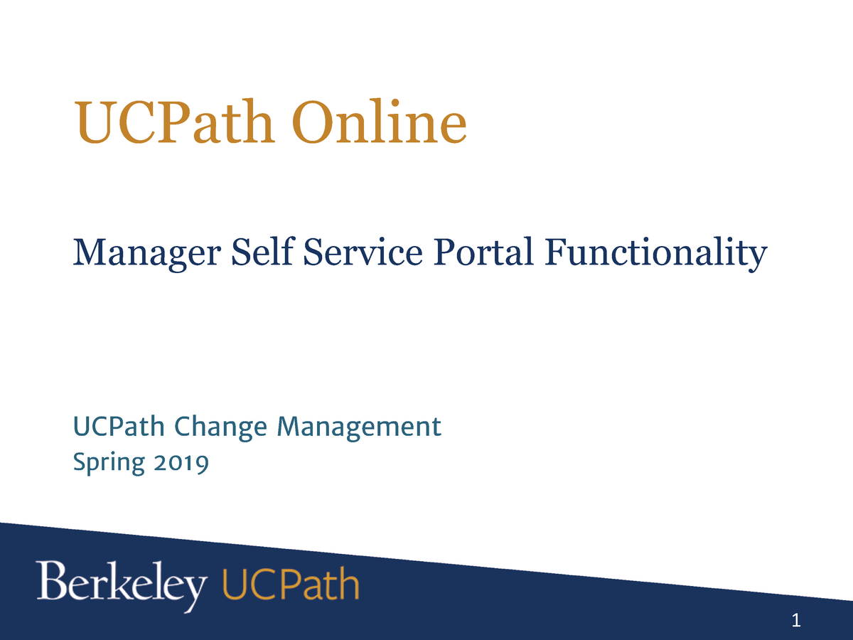 UCPath Manager Self Service