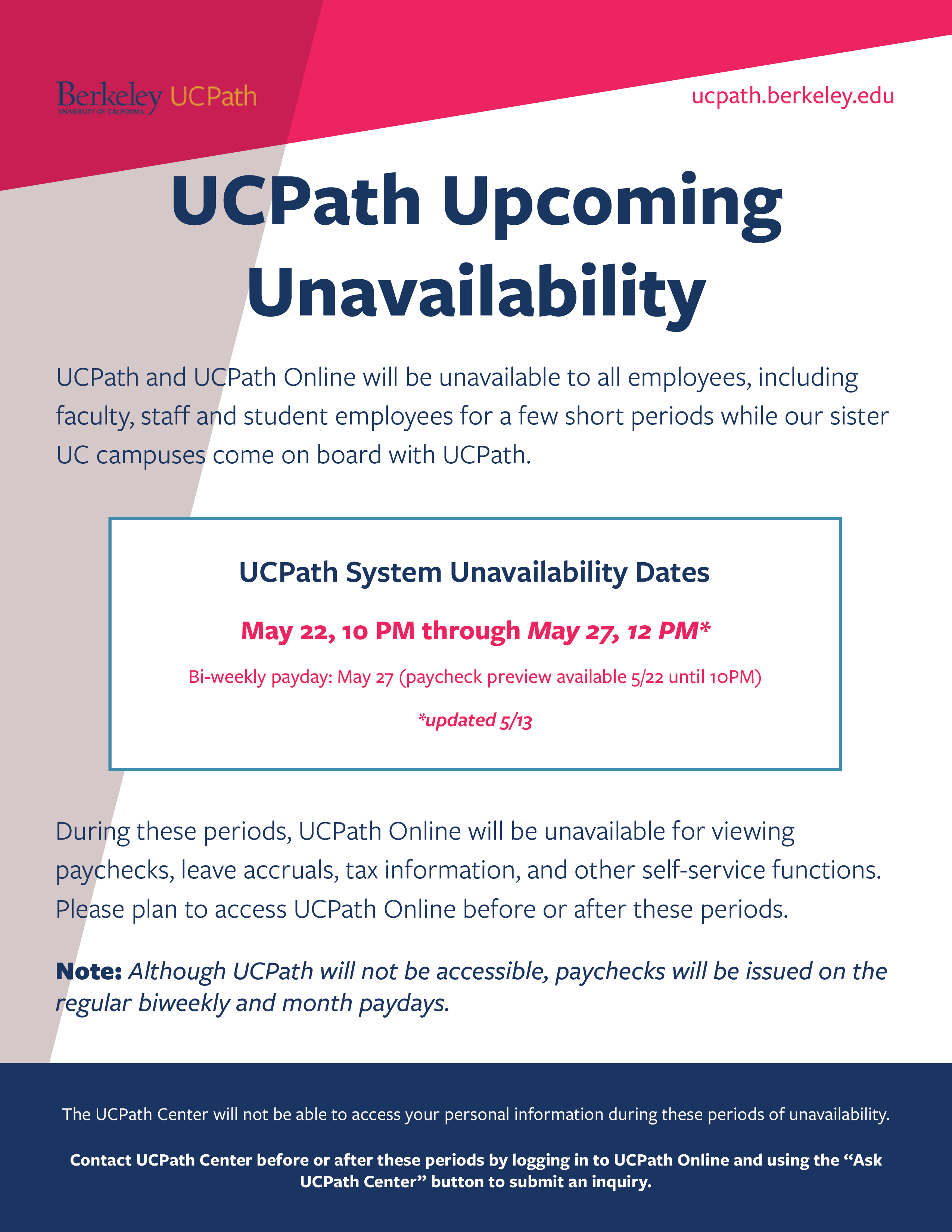 UCPath Upcoming Unavailability updated 5/13