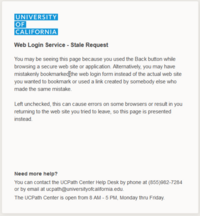 "A screenshot showing an error message that reads ""Web Login Service - Stale Request"""